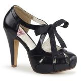 Fekete 11,5 cm retro vintage BETTIE-19 női cipők a magassarkű
