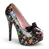 Fekete 14,5 cm Burlesque TEEZE-12-4 női cipők magassarkű