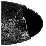 Fekete 15 cm DELIGHT-1008SQ női flitterekkel magassarkű bokacsizma