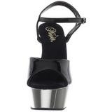 Fekete 15 cm Pleaser DELIGHT-609 Króm Platform Magassarkú