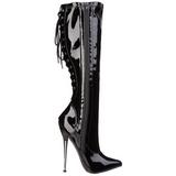 Fekete 16 cm DAGGER-2064 női csizma a magassarkű