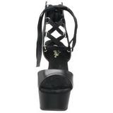 Fekete 16 cm Pleaser DELIGHT-600-14 Magassarkú Platform