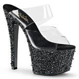Fekete 18 cm BEJEWELED-702SP Csillogó Kövekkel Platform Cipők