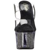 Fekete 18 cm SKY-302SRS Strasszköves platform női papucs