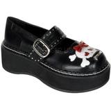 Fekete 5 cm EMILY-221 Platform Gótikus Cipők