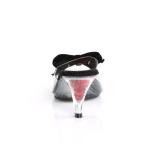 Fekete 7,5 cm BELLE-301BOW Pinup papucs a csokornyakkendő