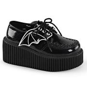 Fekete 7,5 cm CREEPER-205 Platform Creepers Cipő Denevérszárnyak