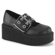 Fekete 7,5 cm CREEPER-230 Maryjane Creepers Cipő Csat