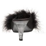 Fekete 8 cm BELLE-301F marabu toll Papucs