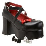 Fekete 9,5 cm ABBEY-03 Platform Gótikus Cipők