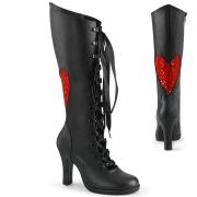 Fekete 9,5 cm GLAM-243 magasszárú fűzős csizma női