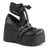 Fekete 9 cm DEMONIA SCENE-20 Platform Gótikus Cipők