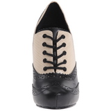 Fekete Bézs 11,5 cm retro vintage CUTIEPIE-14 Oxford Női Körömcipők