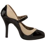 Fekete Bézs 11,5 cm rockabilly TEMPT-07 női cipők a magassarkű