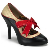 Fekete Bézs 11,5 cm rockabilly TEMPT-27 női cipők magassarkű
