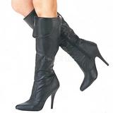 Fekete Bőr 10 cm VANITY-2013 Térdig érő Csizma Női