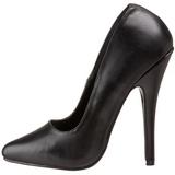 Fekete Bőr 15 cm DOMINA-420 Körömcipők Tűsarkú Cipő
