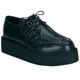Fekete Bőr 5 cm CREEPER-402 Platform Creepers Cipők Férfi