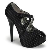Fekete Csík 14,5 cm Burlesque TEEZE-23 női cipők magassarkű
