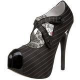 Fekete Csík 14,5 cm TEEZE-23 női cipők a magassarkű