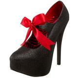 Fekete Csillámos 14,5 cm TEEZE-04G női cipők a magassarkű