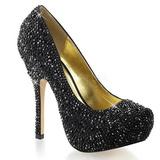 Fekete Csillogó Kövekkel 13,5 cm FELICITY-20 női cipők a magassarkű