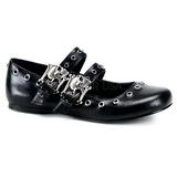 Fekete Demonia DAISY-03 Lapos Balerínky Cipők