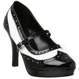 Fekete Fehér 10,5 cm CONTESSA-06 női cipők a magassarkű