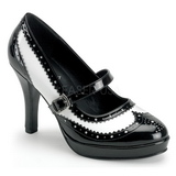 Fekete Fehér 10,5 cm CONTESSA-06 női cipők magassarkű
