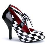 Fekete Fehér 10,5 cm HARLEQUIN-03 női cipők a magassarkű