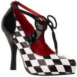 Fekete Fehér 10,5 cm HARLEQUIN-03 női cipők magassarkű