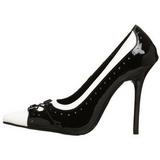 Fekete Fehér 11,5 cm MILAN-09 női cipők a magassarkű