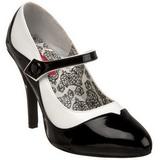 Fekete Fehér 11,5 cm rockabilly TEMPT-07 női cipők a magassarkű