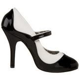 Fekete Fehér 11,5 cm rockabilly TEMPT-07 női cipők magassarkű