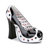 Fekete Fehér 13 cm POKER-21 női cipők a magassarkű