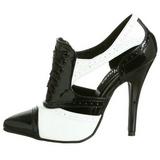 Fekete Fehér 13 cm SEDUCE-458 Oxford női cipők a magassarkű