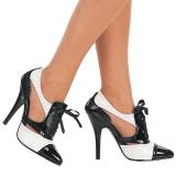 Fekete Fehér 13 cm SEDUCE-458 Oxford női cipők magassarkű