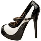Fekete Fehér 14,5 cm Burlesque TEEZE-02 női cipők a magassarkű