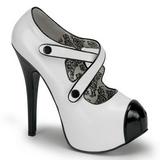 Fekete Fehér 14,5 cm Burlesque TEEZE-23 női cipők magassarkű