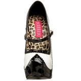 Fekete Fehér 14,5 cm TEEZE-02 női cipők a magassarkű