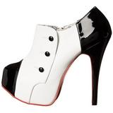 Fekete Fehér 14,5 cm TEEZE-20 női cipők a magassarkű