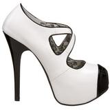 Fekete Fehér 14,5 cm TEEZE-23 női cipők a magassarkű