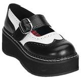 Fekete Fehér 5 cm EMILY-302 Platform Gótikus Cipők
