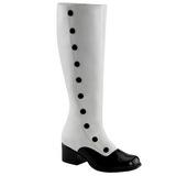 Fekete Fehér 5 cm RETRO-306 Térdig érő Csizma Női