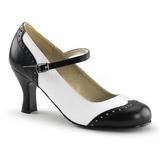 Fekete Fehér 7,5 cm retro vintage FLAPPER-25 Női Körömcipők