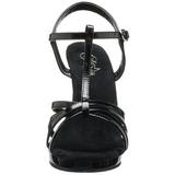 Fekete Lakk 12 cm FLAIR-420 Szandál Magassarkú