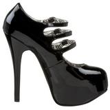 Fekete Lakk 14,5 cm Burlesque TEEZE-05 női cipők a magassarkű