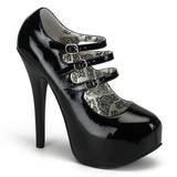 Fekete Lakk 14,5 cm Burlesque TEEZE-05 női cipők magassarkű