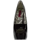 Fekete Lakk 14,5 cm Burlesque TEEZE-22 Körömcipők Tűsarkú Magas Cipők