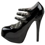 Fekete Lakk 14,5 cm TEEZE-05 női cipők a magassarkű